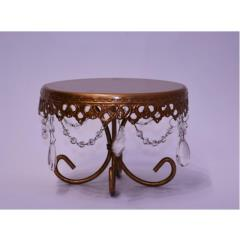 Rental store for 7  Round Gold Crystal Cake Stand in Santa Ana CA