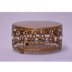 Rental store for 8  Round Gold Crystal Cake Stand in Santa Ana CA