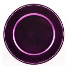 Rental store for 13  Beaded Purple Lacquer Charger in Santa Ana CA
