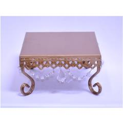 Rental store for 8  Square Gold Crystal Cake Stand in Santa Ana CA