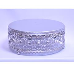 Rental store for 10  Round Silver Crystal Cake Stand in Santa Ana CA